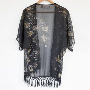 Band of Gypsies Sweaters - Lottie & Holly Sheer Floral Tassel Kimono - M